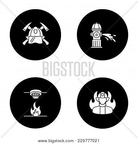 Firefighting Glyph Icons Set. Fire Hydrant, Smoke Detector, Firefighters Maltese Cross, Fireman. Vec
