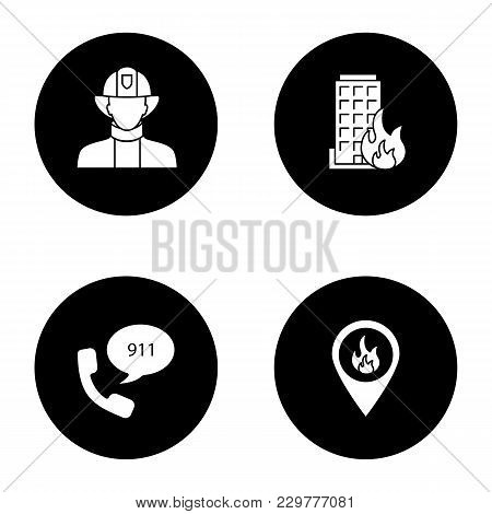 Firefighting Glyph Icons Set. Firefighter, Fire Location, Burning House, Emergency Call. Vector Whit