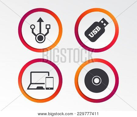 Usb Flash Drive Icons. Notebook Or Laptop Pc Symbols. Smartphone Device. Cd Or Dvd Sign. Compact Dis