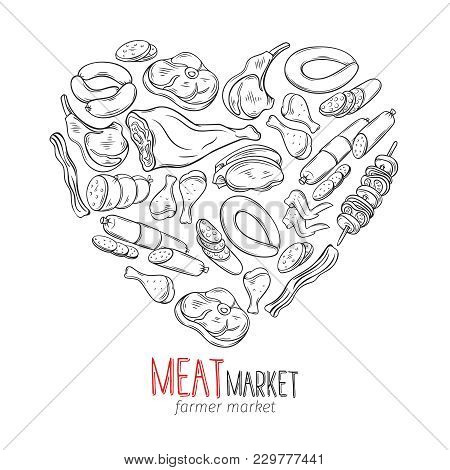 Set Hand Drawn Monochrome Icon Meat Product. Decorative Meat Icons In Old Ink Style For The Design F