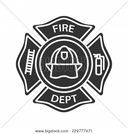 Fire Department Badge Glyph Icon. Firefighting Emblem With Helmet, Ladder And Extinguisher. Silhouet