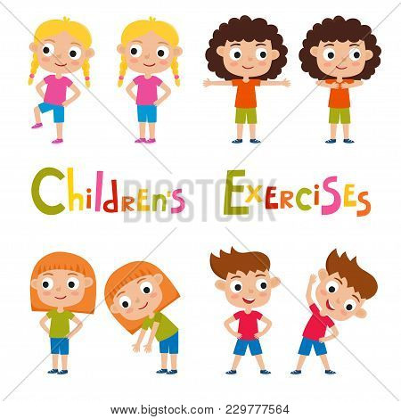 Vector Set Of Different Girls In Exercises Poses Isolated On White Background. Cute Kids For School