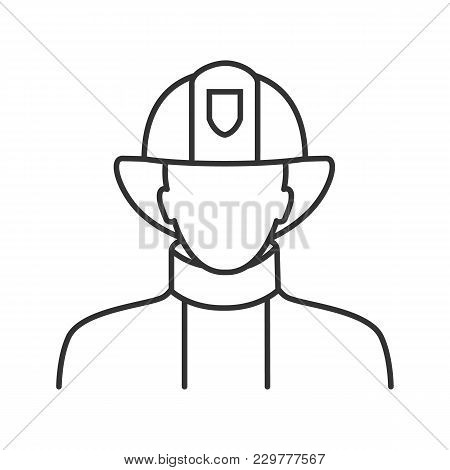 Firefighter Linear Icon. Fireman. Thin Line Illustration. Contour Symbol. Vector Isolated Outline Dr