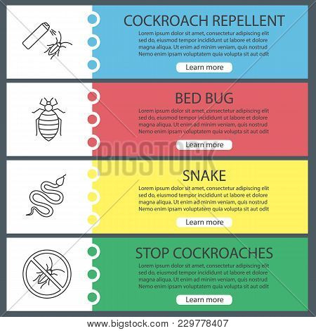Pest Control Web Banner Templates Set. Cockroach Repellent, Bed Bug, Snake, Stop Roaches. Website Co