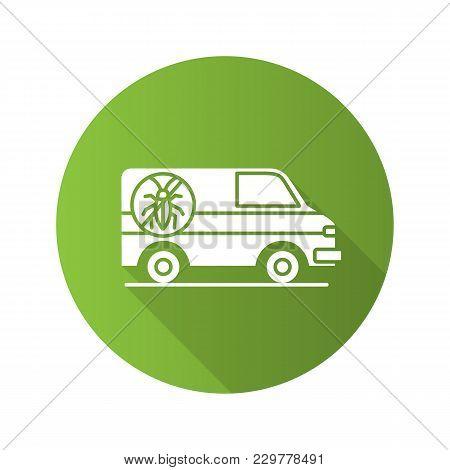 Exterminator Mini Bus Car Flat Design Long Shadow Glyph Icon. Pest Control Service. Vector Silhouett