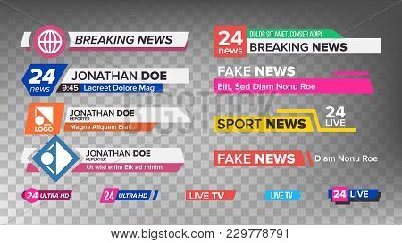 Tv News Bars Set Vector. Sign Of Lower Third. Label Strip, Icon. Media Tag For Television Broadcast.