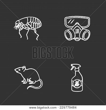 Pest Control Chalk Icons Set. Insects Repellent, Flea, Respirator, Rodent. Isolated Vector Chalkboar