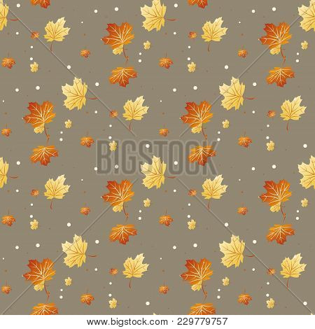 Seamless Pattern With Colored Autumn Leaves. Vector Illustration.
