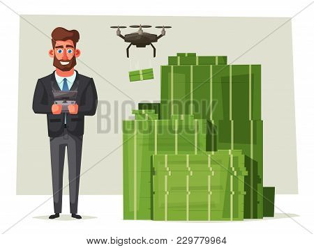 Successful, Happy Businessmen In A Suit. Cartoon Vector Illustration. Funny Characters. Big Stack Of