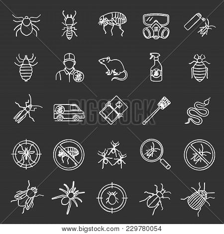 Pest Control Chalk Icons Set. Extermination. Harmful Animals And Insects. Isolated Vector Chalkboard