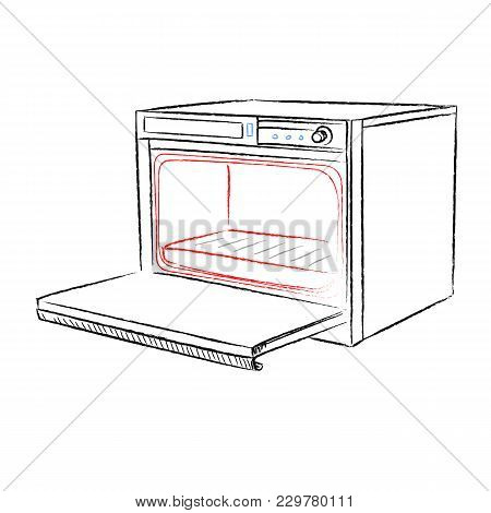 Retro Household Oven Made In The Thumbnail Style On A White Background
