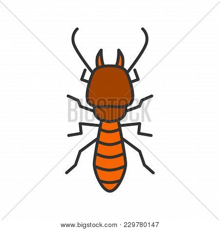 Termite Color Icon. White Ant. Isolated Vector Illustration