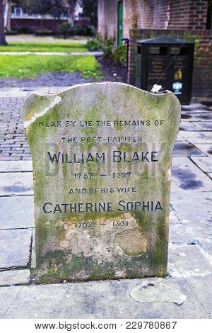 London, Uk - April 22, 2016: Memorial Near Grave Of William Blake, London