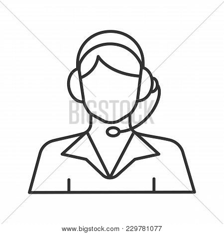 Call Center Operator Linear Icon. Support Service. Thin Line Illustration. Contour Symbol. Vector Is