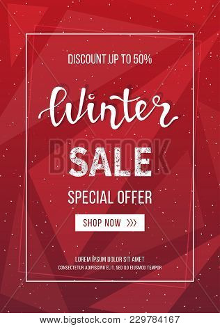 Winter Sale Banner, Poster, Flyer Template In Frame On Geometric Background. Special Seasonal Offer.