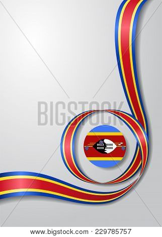 Swaziland Flag Wavy Abstract Background. Vector Illustration.