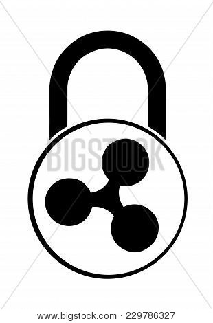 Electronic Security Lock Of Ripple ,vector Icon.   Vector Disign.  Black And White Concept  Vector D