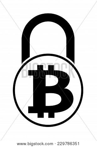 Electronic Security Lock Of Bitcoin ,vector Icon.     Black And White Concept  Vector Disign.