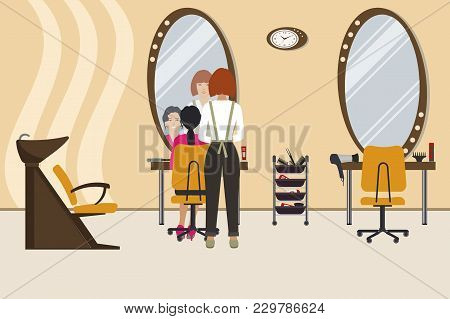 Interior Of A Hairdressing Salon In A Yellow Color. Beauty Salon. There Is A Hairdresser And A Clien