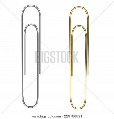 Vector Realistic Paper Clip. Paper Clip For Gold And Silver Colors. Isolated On White. Gold And Silv