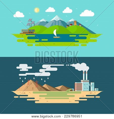 Ecology, Environment, Nature Pollution, Green Energy, Eco Life, Emissions, Planet Conservation Conce