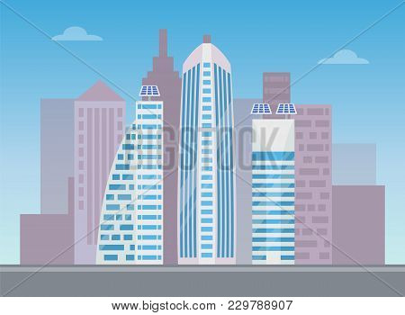 Three White Modern Buildings With Lot Of Blue Windows With Reflections, Colorful Banner Vector Illus