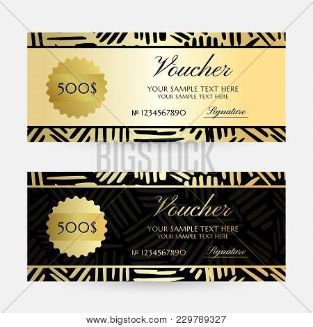 Gold Ink Lines. Gift Vouchers Template Collection. Vector Decorative Horizontal  Flayers