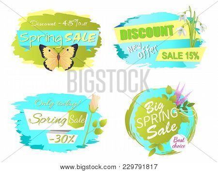 Only Today Spring Sale Labels With Lilac Flowers, Discounts Emblems With Roses And Snowdrops, Spring