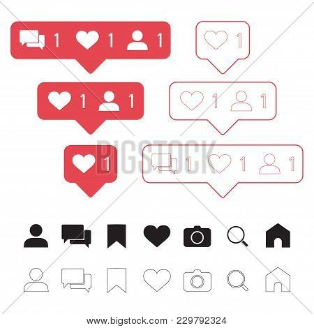 Set Of Social Media Icons: Like, Follower, Comment, Home, Camera, User, Search, Tab. Vector Illustra