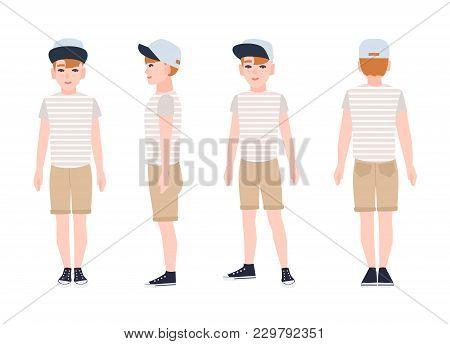 Redhead Teenage Boy, Teen Or Teenager Wearing Cap, T-shirt, Shorts And Sneakers. Flat Cartoon Charac