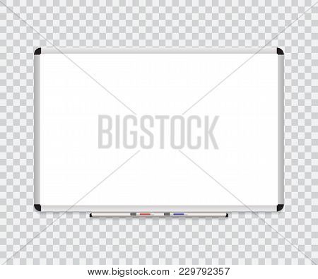 Whiteboard Background Frame With Eraser Whiteboard, Color Markers. Vector Illustration.