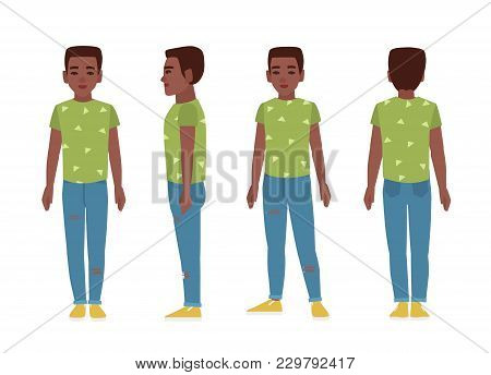 African American Teenage Boy Or Teenager Wearing Blue Ragged Jeans, Green T-shirt And Slip-ons. Flat