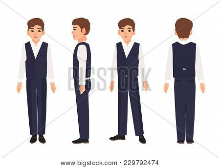 Elegant Smiling Teenage Boy Or Teenager With Brown Hair Wearing Shirt, Trousers And Vest. Male Carto