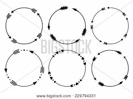 Circle Arrow Frames For Monograms. Arrows In Boho Style. Tribal Arrows. Vector