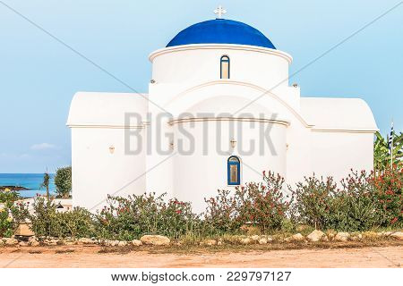 The Multi Denominational Church Of St Nicholas On A Shore Closeup In Paphos, Cyprus