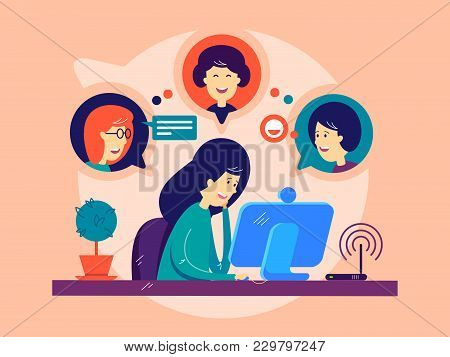 Girl Remotely Communicates With Friends. Online Communication On Computer. Vector Illustration