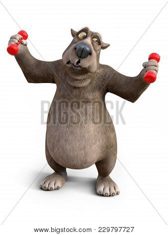 3d Rendering Of A Charming Cartoon Bear Exercising With Dumbbells. He Looks A Bit Strained. White Ba