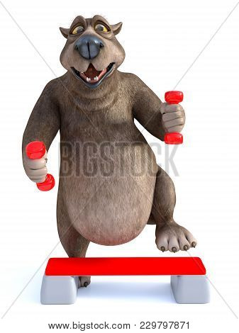 3d Rendering Of A Smiling, Charming Cartoon Bear Exercising With Dumbbells And A Step Up Board. Whit