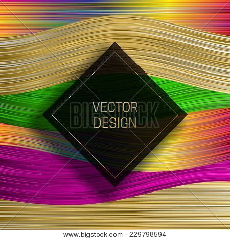 Square Frame On Saturated Colorful Background. Trendy Holographic Packaging Design Or Cover Template