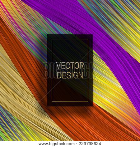 Rectangular Frame On Saturated Colorful Background. Trendy Holographic Packaging Design Or Cover Tem