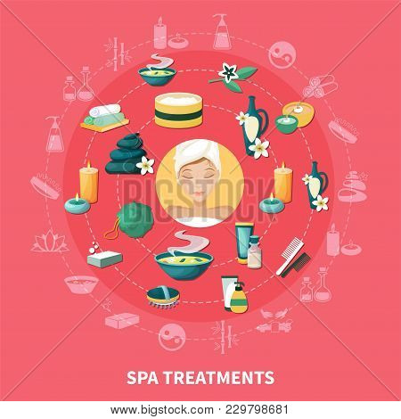 Spa Wellness Resort Treatments And Services Symbols Circle Composition With Aromatherapy Stone Massa