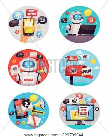 Six Round Isolated Spam Bot Icons With Email Envelope Skull Inbox Symbols And Best Offer Information