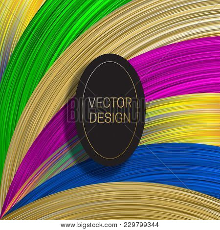 Elliptic Frame On Saturated Colorful Background. Trendy Holographic Packaging Design Or Cover Templa