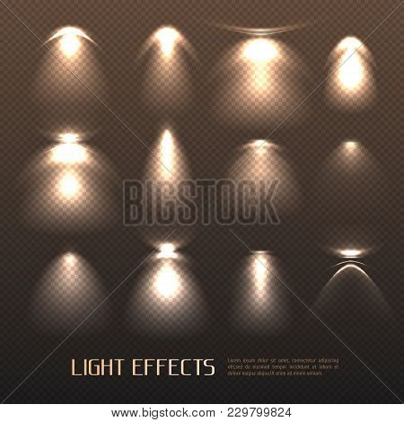 Set Of Light Effects Of Various Intensity From Electric Lamps On Transparent Background Isolated Vec