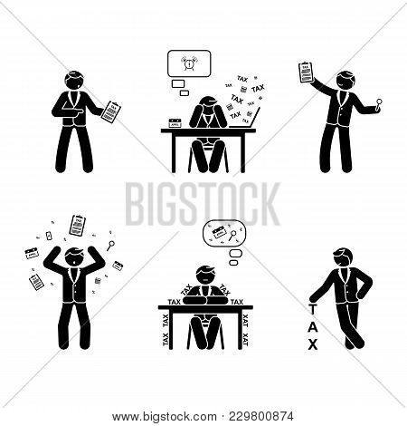 Stick Figure Tax Season Set. Paperwork, Payments, Accounting Vector Illustration On White
