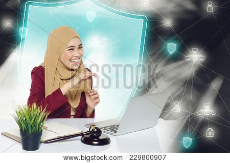 Cyber Security Concept, Happy Face Expression Young Women Sitting In Front Her Laptop Over Abstract