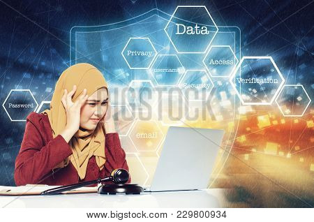 Cyber Security Concept, Stress Face Expression Young Women Sitting In Front Her Laptop Over Abstract