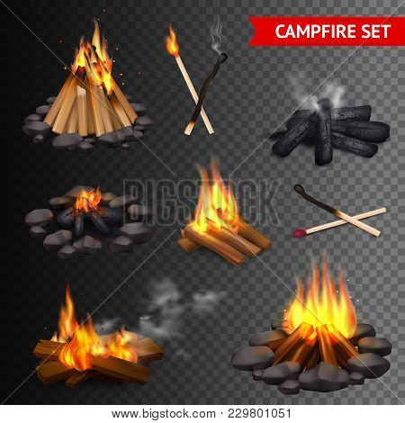 Realistic Campfire Transparent Set Of Isolated Bonfire Images With Lump Wood Stones And Firebrands W