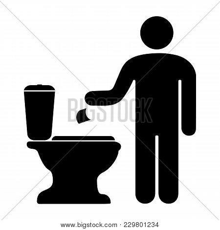A Badge Of A Man Throwing Toilet Paper In The Toilet. Vector Illustration.
