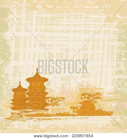 Old Paper With Chinese Temple , Vector Illustration